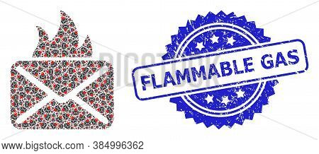 Flammable Gas Grunge Seal Print And Vector Recursive Collage Hot Mail. Blue Stamp Seal Contains Flam