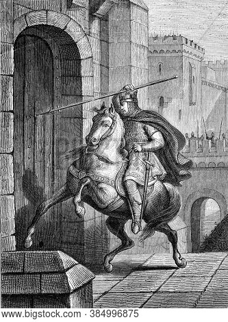 Emperor Otho came to shoot his spear in the city gate, Vintage engraving. From Popular France, 1869.