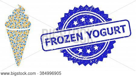 Frozen Yogurt Unclean Stamp And Vector Fractal Mosaic Ice Cream. Blue Stamp Seal Contains Frozen Yog