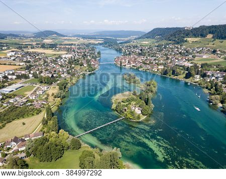 Aerial Drone Photography Of The Beginning Part Of Rhine River At Lake Constance: Islet Werd, Stein A