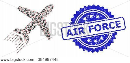 Air Force Grunge Seal Imitation And Vector Recursive Mosaic Jet Liner. Blue Stamp Seal Contains Air