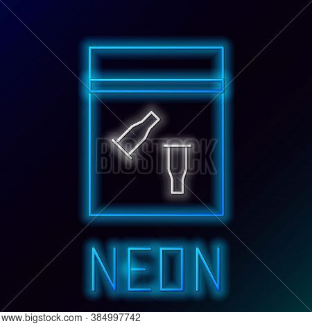 Glowing Neon Line Evidence Bag And Bullet Icon Isolated On Black Background. Colorful Outline Concep