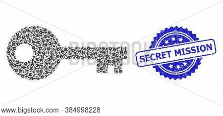 Secret Mission Corroded Stamp Seal And Vector Recursive Mosaic Key. Blue Stamp Seal Includes Secret