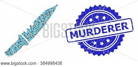 Murderer Textured Stamp Seal And Vector Fractal Collage Knife. Blue Stamp Seal Contains Murderer Cap