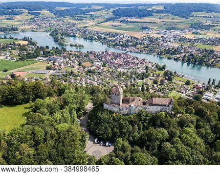 Panorama Of Stein Am Rhine And The Hohenklingen Castle In The Beautiful Region Of Lake Constance And