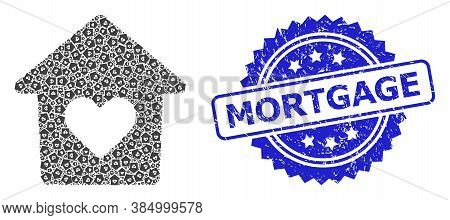 Mortgage Textured Stamp Seal And Vector Recursion Mosaic Lovely House. Blue Stamp Seal Contains Mort