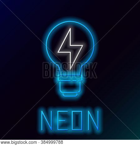 Glowing Neon Line Light Bulb With Lightning Symbol Icon Isolated On Black Background. Light Lamp Sig