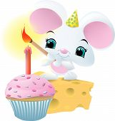 a cute white mouse wearing a birthday hat lighting a candle on top of a cupcake. poster