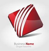 Originally designed abstract glossy 3D business logo poster
