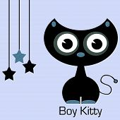 Cute Boy Kitty with Black and Blue Hanging Stars poster
