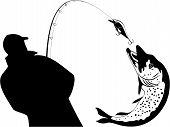Fishing fisherman and pike, fishing tackle, vector illustration poster