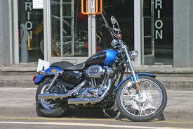 Blue And Black Harley Davidson Motor Bike