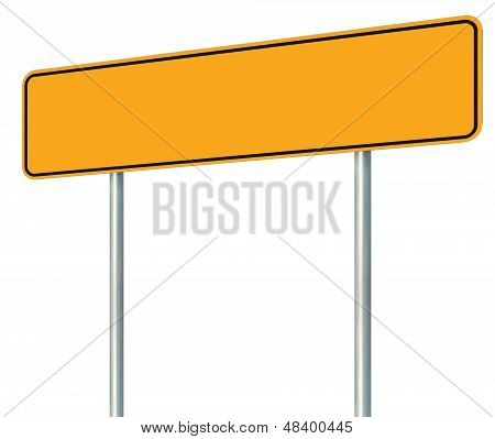 Blank Yellow Road Sign, Isolated Large Warning Copy Space, Black Frame Roadside Signpost Signboard
