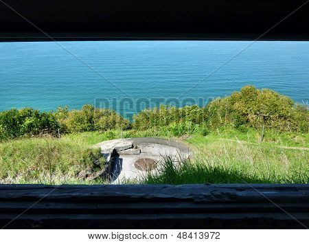 Sea view through the window of a historic observation post