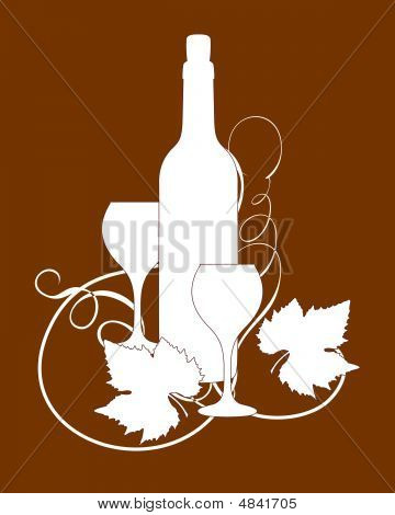 Wine bottle and glasses silhouette with grape leaves. poster