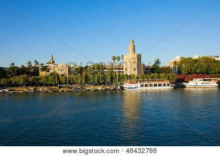 cityscape of Seville with Guadalquivir, Spain