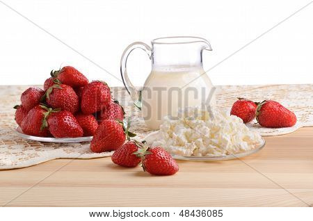 Strawberries, Milk And Cottage Cheese