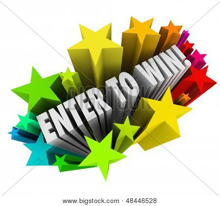 The words Enter to Win in a starburst of colorful fireworks to illustrate entering or winning a contest, raffle or lottery where a jackpot or money is up for grabs