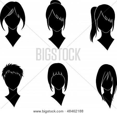 set of women' s haircut design