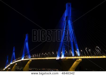 Rio-antirio Bridge, Illuminated At Night.
