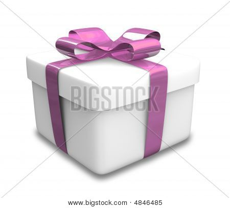 White Gift With Purple Wrap