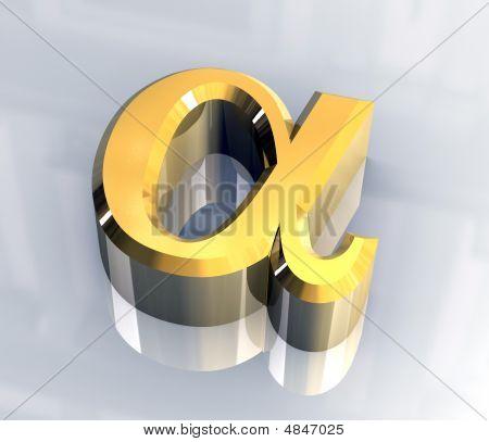 Alpha Symbol In Gold