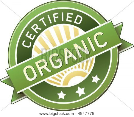 Certified organic food product and service label - vector packaging sticker good for print or web use poster