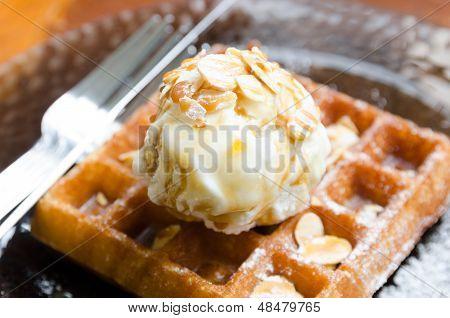 Vanilla Ice Cream Scoop On Waffle
