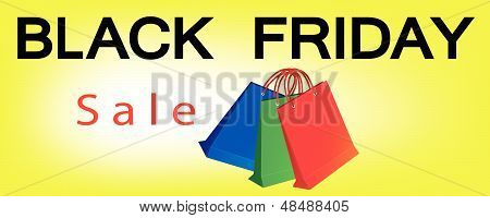 Paper Shopping Bags On Black Friday Sale Banner