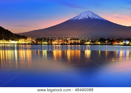 Mt. Fuji with twilight colors in japan.