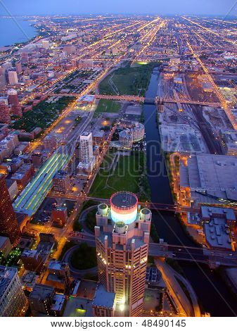 Twilight Chicago Scene
