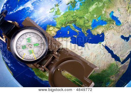 Compass On Modern Map