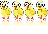 Illustrated easter chick with different emotions in the face poster