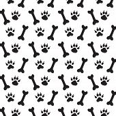 Traces of Dog and Bones. Black and White Vector Pattern. poster