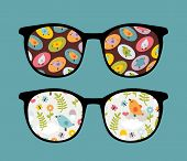 Retro sunglasses with lovely birds reflection in it. Vector illustration of accessory - isolated eyeglasses. poster