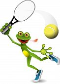 illustration a merry green frog tennis player poster
