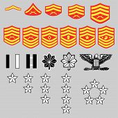 US Marine Corps rank insignia for officers and enlisted in vector format poster