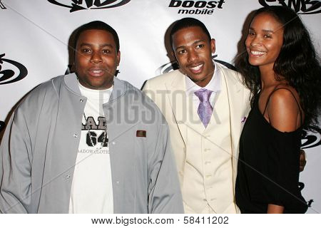 LOS ANGELES - OCTOBER 10: Kenan Thompson with Nick Cannon and Joy Bryant at the birthday party for Nick Cannon and the opening of his flagship store for PNB Nation October 10, 2006 at PNB Nation Store