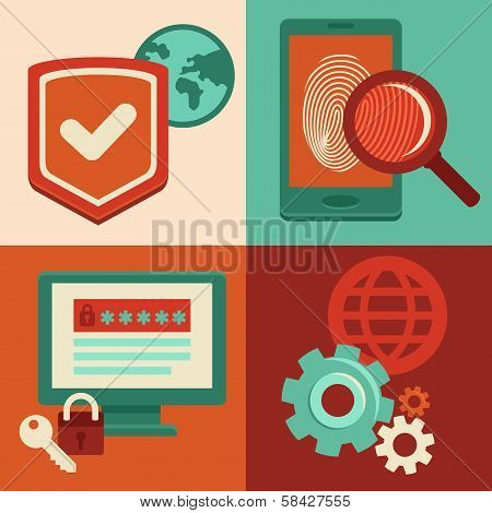 Vector Internet Security Icons In Flat Style