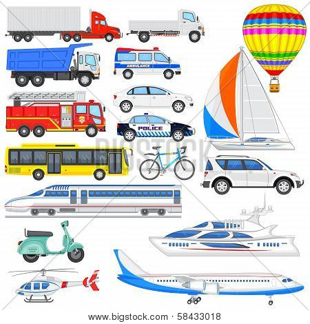 vector illustration of set of means of transport poster