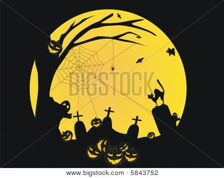 Halloween background with ghosts,cat,pumpkins and graves