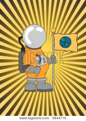 Astronaut Holding A Flag Ray Beam Glowing Background