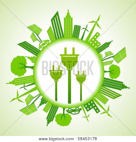 Eco cityscape with electric plug