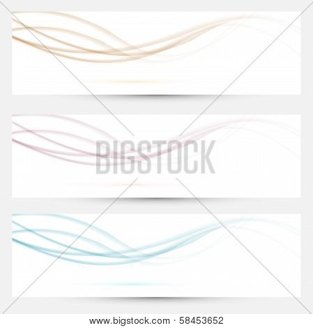 Transparent Web Headers With Swoosh Elements Collection