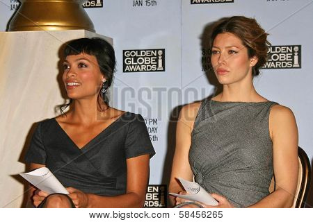 BEVERLY HILLS - DECEMBER 14: Rosario Dawson and Jessica Biel at the Nomination Announcement For The 64th Annual Golden Globe Awards on December 14, 2006 at Beverly Hilton in Beverly Hills, CA.