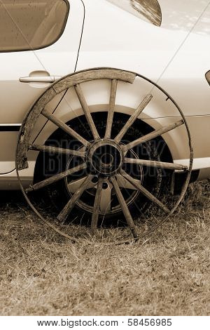 Old Wagon Wheel Addition On New Cars