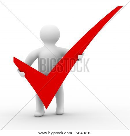 Human With Big Positive Symbol. Isolated 3D Image