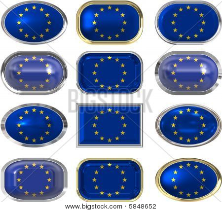 Twelve Buttons Of The Flag Of The European Union
