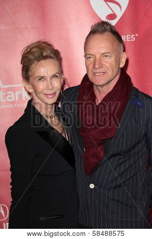 Trudie Styler, Sting at MusiCares Person Of The Year Honoring Bruce Springsteen, Los Angeles Convention Center, Los Angeles, CA 02-08-13