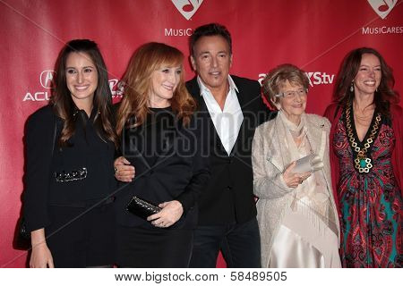 Bruce Springsteen and family at MusiCares Person Of The Year Honoring Bruce Springsteen, Los Angeles Convention Center, Los Angeles, CA 02-08-13